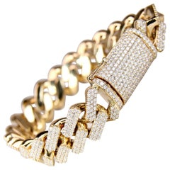 Yellow Gold Pave Curb Link Bracelet