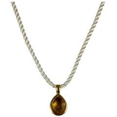 Yellow Gold Pear Shape Smokey Topaz Pendant on Silk Cord