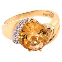 Yellow Gold Pear Shaped Citrine and Diamond Ring