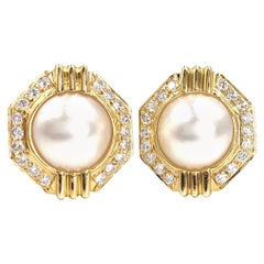 Yellow Gold Pearl and Diamond Geometric Button Earrings