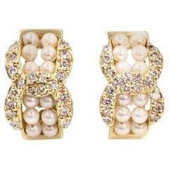 Yellow Gold Pearl and Diamond Huggie Earrings