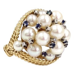 Yellow Gold Pearl, Blue Sapphire and Diamond Large Cluster Ring