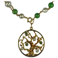 Yellow Gold Pearl Green Nephrite Jade Tree of Life Charm Bracelet Pendant