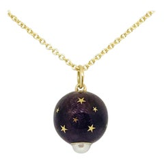 Yellow Gold, Pearl, Lavender Enameled Ball-Shaped Pendant