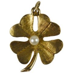 Yellow Gold Pearl Lucky Shamrock Clover Charm Pendant