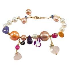 Yellow Gold Pearl Precious Stones Bracelet, Sapphire Ruby Amethyst Citrine
