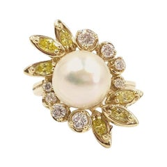 Yellow Gold Pearl, White and Yellow Diamond Cocktail Ring