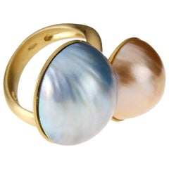 Yellow Gold Pearls Ring