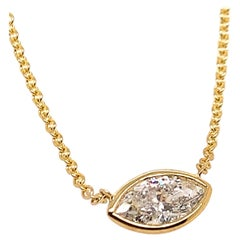 Yellow Gold Pendant 1.18 Carat Natural Marquise Diamond APX H Color SI3 Clarity