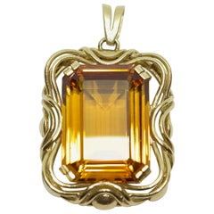 Yellow Gold Pendant, Enhancer, with Large Emerald Cut Citrine