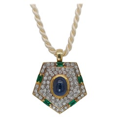 Yellow Gold Pendant with Diamonds, Emerald, Cabochon Sapphire