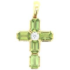 Yellow Gold Peridot Diamond Cross Pendant