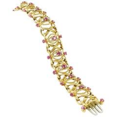 Yellow Gold Pink Sapphire and Diamond Bracelet, circa 1970