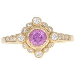 Yellow Gold Pink Sapphire & Diamond Ring, 14k Round Cut .80 Carat Milgrain Halo
