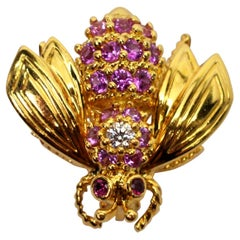 Yellow Gold Pink Sapphire Diamond Ruby Tiffany & Co. Bee Pin Brooch