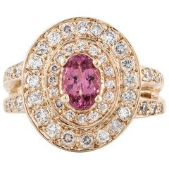 Yellow Gold Pink Spinel Diamond Ring