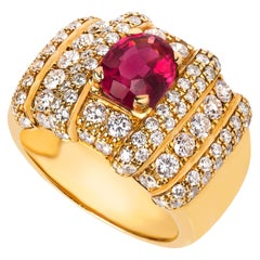 "Yellow Gold Pink Tourmaline ""Rubilite"" and Diamond Ring"