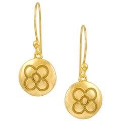 Yellow Gold Plate on Silver Dangle Drop Flower Earrings DIAMONDS in the SKY