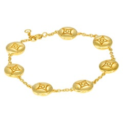 Yellow Gold Plate Silver Link Charm Bracelet 7 DIAMONDS in the SKY
