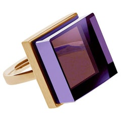 Yellow Gold-Plated Art Deco Style Ring with Amethyst, Featured in Vogue