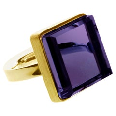 Yellow Gold-Plated Art Deco Style Ring with Dark Amethyst, Featured in Vogue