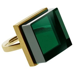 Yellow Gold-Plated Art Deco Style Sterling Silver Ring with Green Quartz