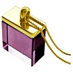 Yellow Gold-Plated Art Deco Style Pendant Necklace with Natural Amethyst