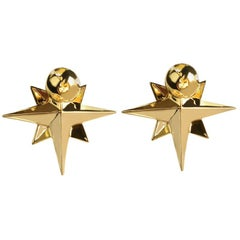 Yellow Gold Plated Compass Earrings 2 in 1 by Cristina Ramella