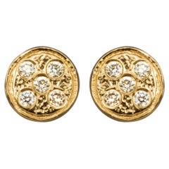 Diamond Gold Plated Earstuds Earrings, 'Diamonds on a Flat Planet'