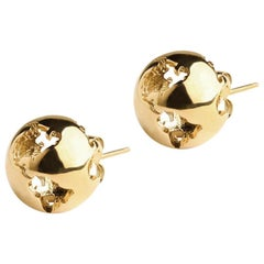 Yellow gold plated Earth studs Earrings
