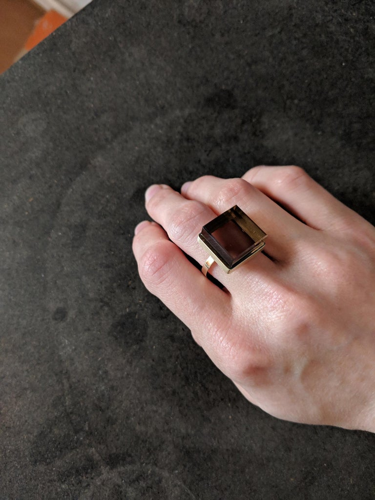 Yellow Gold-Plated Men's Ring with Smoky Quartz, Featured in Vogue For Sale 2