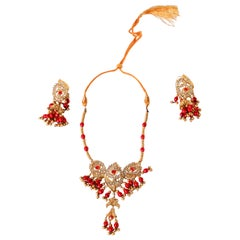 Yellow Gold Plated Necklace and Earrings Set, India