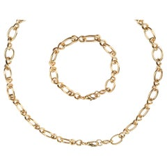 Yellow Gold Plated Orbit Chain Necklace and Bracelet Set by Cristina Ramella