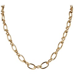 Yellow Gold Plated Orbit Chain Necklace by Cristina Ramella