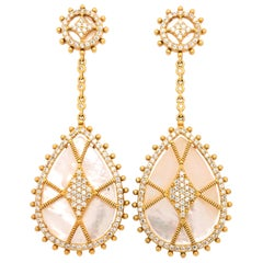 Yellow Gold Plated Silver Mother of Pearl and Diamond Earrings