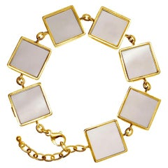 Yellow Gold-Plated Sterling Silver Art Deco Link Bracelet with Smoky Quartz