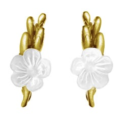 Yellow Gold-Plated Sterling Silver Contemporary Earrings with Quartz Flower