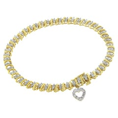 Yellow Gold-Plated Sterling Silver Diamond Heart Charm Bracelet