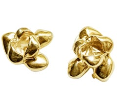 Yellow Gold-Plated Sterling Silver Iris Blossom Contemporary Stud Earrings