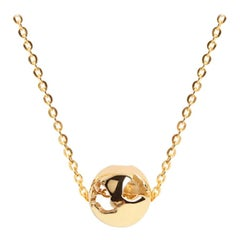 Yellow Gold Plated World Charm Necklace by Cristina Ramella
