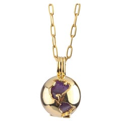 Yellow Gold Plated World Globe Locket - Rose Quartz, Amethyst and Black Obsidian