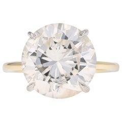 Yellow Gold and Platinum 8.08 Carat Round Brilliant Cut Diamond Engagement Ring