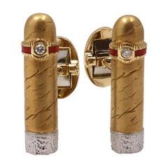 Yellow Gold & Platinum Cigar Cufflinks