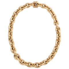 Yellow Gold Polished and Striated Oval Link Chain