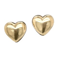 Yellow Gold Puffed Heart Earrings