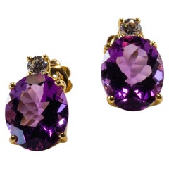 Yellow Gold 18k Purple Oval Amethyst and Diamond Earrings