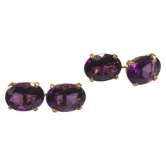 Yellow Gold 18k Purple Oval Amethyst Cufflinks