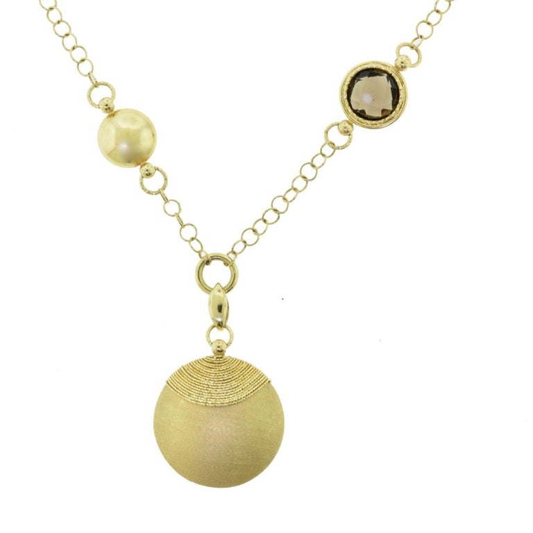 Brilliance Jewels, Miami Questions? Call Us Anytime! 786,482,8100  Stones:  Diamonds, Quartz  Material: Yellow Gold  Metal Purity: 14k   Style: Necklace  Total Item Weight: 12.6 grams  Dimensions: Chain with Pendant 20 inches, without pendant 17