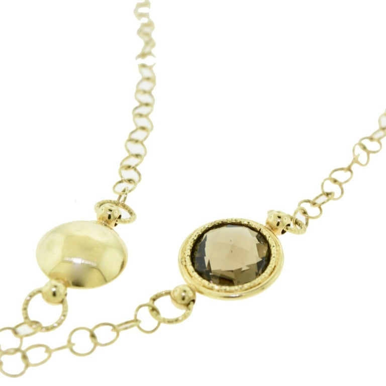 Women's or Men's Yellow Gold, Quartz, and Diamond Circles Necklace For Sale