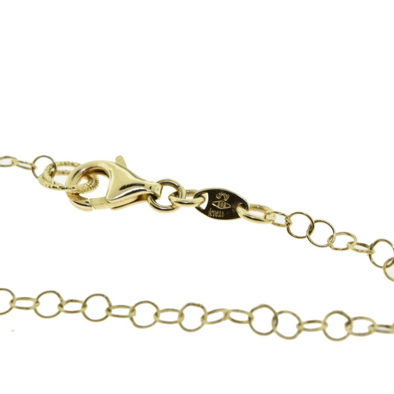 Yellow Gold, Quartz, and Diamond Circles Necklace For Sale 1